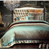 ingrosso biancheria da letto di lino verde-4 / 6pcs verde jacquard set di biancheria da letto in raso re regina di lusso tribute trapunta di seta / copripiumino biancheria da letto lenzuola set tessili per la casa
