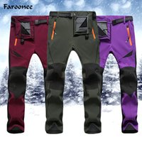Wholesale womens warm pants - 2018 New Winter Womens Mens Pants Soft Fleece Windproof Waterproof Warm Mountain Trousers Y2228