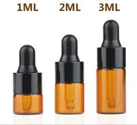 siyah parfüm şişeleri toptan satış-Toptan 1 ml 2 ml 3 ml Amber cam damlalıklı şişeler w / Siyah kap, Uçucu yağ şişesi, Küçük Parfüm şişeleri, Örnekleme Depolama Ücr ...
