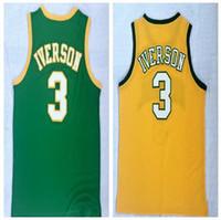 ingrosso mens alto scontato-Sconto economici mens Iverson High School 3 magliette gialle di pallacanestro Jersey, all'ingrosso 2018 nuovi popolari Green Trainers Basket usura cime