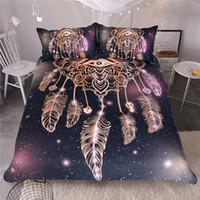 galaxie traumfänger großhandel-Eye Dreamcatcher Bettwäsche-Set König Größe Luxus Galaxy Golden Print böhmischen Bettwäsche 3d Universum Bettbezug