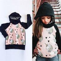 at üstü baskı toptan satış-INS Unicorn Hoodies Ter Bebek Kız Karikatür hoodie Uzun Kollu At Unicorn Baskılı Bodysuit gömlek Çocuklar Çocuk Kapüşonlu Giyim satış