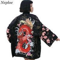 abrigo de dragón chino al por mayor-Neploe Japonés Mujeres Cardigan Media Manga Con Cuello En V Blusas Kimono Dragón Chino Abrigo Estampado Sueltas Camisas de protección solar 35349