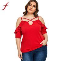 blusa a céu aberto venda por atacado-FEITONG Plus Size Blusa Ruffle Mulheres Fora Do Ombro Openwork Sling Camisa Sem Alças Soltas Blusas Femininas Tops XL ~ 5XL