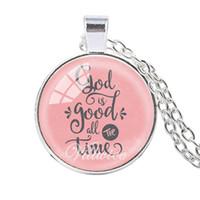 ingrosso collana della cupola-VILLWICE Bible Verse Necklace God Is Good Tutto il tempo Glass Dome Collane per le donne Citazione Christian Harajuku Jewelry Gifts
