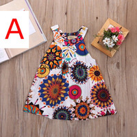 Wholesale Casual Dreses - INs Summer Sunflower Baby girls Dresses Girls Infant Cotton Sleeveless princess Dress Summer baby dress Printed Embroided dreses 2-8 years