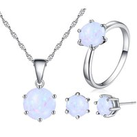 Wholesale wholesale fashion jewelry usa - Stones Silver Color Jewelry Sets For Women crystal opal Necklace Pendant Earrings Rings USA Size fashion stud ring necklace sets 390001