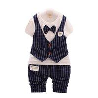 ingrosso stile indumenti-Pantaloni estivi per bambini T-Shirt a maniche corte in maglia estiva 2 pezzi / set Set di abbigliamento per bambini in stile inglese