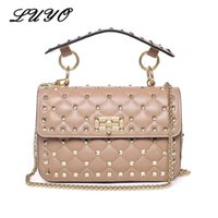 Discount pink channel - LUYO Rivet Genuine Leather Crossbody Bags For Female Luxury Handbags Women Bags Designer Clutch Tote Small Shoulder Channel Bag