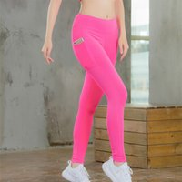 c57ee80528e56 Female Splicing Yoga Pants Running Motion Tighten High Waist Bodybuilding Trousers  Women Fitness Leggings With Pocket Soft 37yd Ww