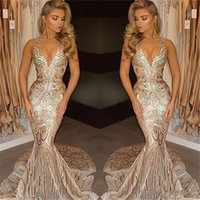 Wholesale occasion elastic spaghetti special dresses for sale - Group buy 2018 Luxury Gold Mermaid Prom Dresses Deep V Neck Sequins Sweep Train Long Formal Plus Size Special Occasion Evening Party Pageant Gowns