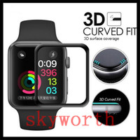 Wholesale installed packages for sale - 3D Curved Tempered glass screen protector For Apple Watch Iwatch mm mm MM MM Full Screen film Protective Cover Retail Package