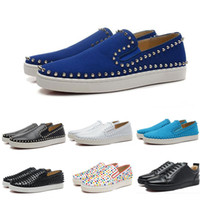 Wholesale Silver Spiked Loafers - (With Box)Wholesale New Men Genuine Leather With Colorful Spikes Low Causal Sports Shoes Brand Designer Red Bottom Loafers Sneakers Shoes