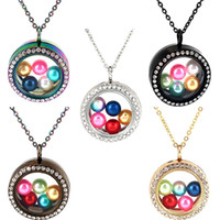 ingrosso colori perle femminili-8mm 10mm Pearl Beads Cage - Cinque colori diversi 30mm 34mm Round Magnetic Floating Floating Locket Pendenti Charms donna 20