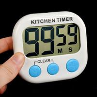 temporizador magnético al por mayor-SÓLO DHL Temporizador de cocina digital Temporizador de cuenta regresiva Temporizador de cocina Reloj despertador Soporte trasero magnético Pantalla LCD
