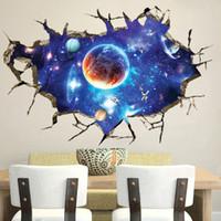 autocollant de fonds d'écran nature achat en gros de-Creative 3D nouvelle fantaisie ciel stickers muraux salon TV mur papier peint fond peinture décorative autocollants PVC