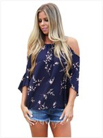 Wholesale navy chiffon blouse women - 2018 Blouse Women Clothes Chiffon Boho Style half sleeve Navy Blue Cold Shoulder Blossoms Top Spring Autumn blusas feminina