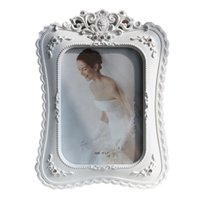 Wholesale resin photo frame picture - 6 7 8 10 Inch Resin Photo Frame White Set with Diamond Decorative Picture Frame European Wedding Picture Photo Frames A $
