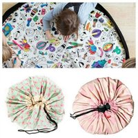 Wholesale toy beans for kids for sale - 135CM Kids Toy Drawstring Storage Bean Bag Portable Organizer Container for DIY Graffiti Doodling Mat Children Learn Painting AAA709