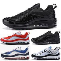 новый стиль кроссовки оптовых-2018 98 новинка классический стиль мужская обувь аутентичные спортивная обувь на воздушной подушке высокие кроссовки кроссовки Size36-45