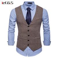 модные жилеты для мужчин оптовых-IEF.G.S 2018  Suit Vest Men Jacket Sleeveless Beige Gray Vintage Tweed Vest Fashion Spring Autumn Plus Size Waistcoat