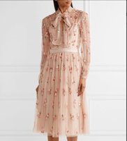 цветочные мотивы оптовых-2018 Spring Women  pink Ditsy pussy-bow embellished light-catching sequins and  prey floral motif tulle dress