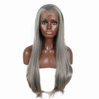 Wholesale long straight light wavy hair for sale - Group buy Lace Front Wigs inches Straight hair Mixed Gray Gradient Long Heat Resistant Wavy Hair Ombre Lace Front Wig kabell wigs