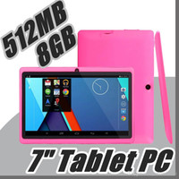 bluetooth tablet pc touch toptan satış-Ucuz 7 inç Q88 Çift kamera A33 Quad Core Tablet PC Android 4.4 IŞLETIM SISTEMI Wifi 8 GB 512 M RAM Çoklu Dokunmatik Kapasitif Bluetooth Tablet A-7PB