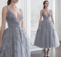 Wholesale paolo sebastian for sale - Paolo Sebastian Short Prom Dresses Sequined Beaded Sexy Deep V Neck Evening Dress A Line vestidos de fiesta Tulle Formal Party Gowns