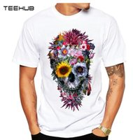 Wholesale cool skull designs - 2018 Men T Shirts Fashion Voodoo Skull Design Short Sleeve Casual Tops Hipster Flower Skull Printed T-Shirt Cool Tee