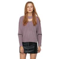 blusas de pescoço zip venda por atacado-Venda Por Atacado Chunky Gargantilha Sweater Zip Sleeve Cut Out V Pescoço Malhas