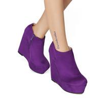 botines morados sexy al por mayor-Legzen Super Sexy Botines Cuñas Faux Suede Ronda Toe Botas de moda Elegantes zapatos púrpuras Mujer más EE.UU. tamaño 4-15