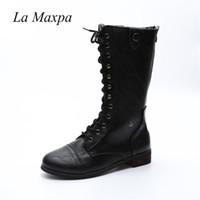 reißverschluss für schnürsenkel großhandel-La MaxPa 2018 Pu-leder Frauen Stiefel Lace-up Zipper Schuhe Botas Feminina Weibliche Mode Motorrad Waden Stiefel Frauen Mujer