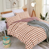 Wholesale blue checked bedding resale online - Twill Thick Sanding Duvet Cover Set Bed Sheet Pillowcases Home Bedding Set Queen Double Quilt Cover Checks FML18