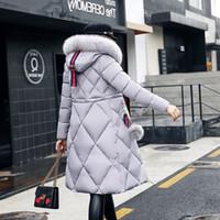 büyük yaka kadın kat toptan satış-Kadın Kış Ceket Ve Mont 2018 Rahat Uzun Kollu Büyük Kürk Yaka Aşağı Ceket Kadın Gevşek Sıcak Kapşonlu Parkas Artı Boyutu 2XL