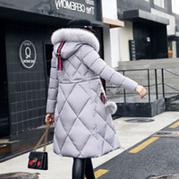 Wholesale female fur for sale - Group buy Women Winter Jackets And Coats Casual Long Sleeve Big Fur Collar Down Coat Female Loose Warm Hooded Parkas Plus Size XL