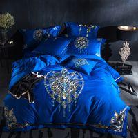 cama king size moderna al por mayor-Lujo azul egipcio algodón oriental moderno juego de cama Queen tamaño King bordado decorativo funda nórdica sábana conjunto 38