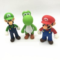 Wholesale yoshi toys - 3 Style Super Mario Bros toy New Cartoon game Mario Luigi Yoshi Action Figure Super Mario PVC Gift Toys For Kid B