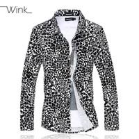 ingrosso grandi vestiti di autunno di formato-Wholesale- Leopard Men Casual Dress Shirt Big Size 5XL 6XL Manica lunga Slim Fit Camicia Camisa Camicetta sociale Abiti maschili Primavera Autunno E514