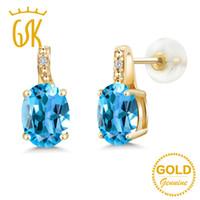 pendientes de oro topacio azul al por mayor-GemStoneKing 2.61 Ct Oval Natural Blue Topaz White Diamond Stud Earrings 10 K oro amarillo de piedras preciosas joyas finas para mujeres