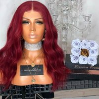 Wholesale curly wig middle part for sale - MHAZEL short fashion curly dark Burgundy synthetic glueless front lace wig middle part in heat resistant fiber