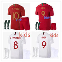 Wholesale National Teams - 2018 World Cup home Portugal kids Jerseys kit 18 19 away Silva ronaldo nani national team child football jersey shirts top quality