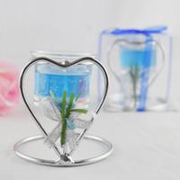 bebek mavisi mumları toptan satış-FEIS Kalp şeklinde Paslanmaz Çelik düğün mumluk Fincan Mum Standı PartyValentine 'ın günü Şekeri Şamdan Şamdan ev deco