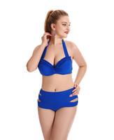 f1fd0ecb9bb Big Cup Bikini Set European And American Solid Color High Waist Lady Plus  Size Fat Women Swimsuit Hot Spring Swimwear