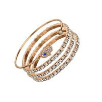 mädchen armbänder großhandel-Ethnische Mode Öffnen Manschette Armreifen Gold Farbe FATIMA Hand Strass Charme Armbänder Armreif Für Frauen Mädchen Vintage Armband