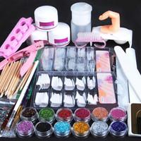 Wholesale Kits For Acrylic Nails - Acrylic Nail Art Manicure Kit 12 Colors Nail Glitter Powder Decoration Acrylic Pen Brush Nail Art Tool Kit Sets For Beginners