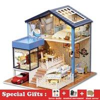 ingrosso stanza di legno in miniatura di bambola della bambola-Fai-da-te Miniature Wooden Dollhouse SEATTLE Villa Cute Room with Dust Cover Grande casa delle bambole Toy Girl regalo di compleanno regalo di Natale