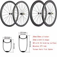 ruedas de bicicleta de fibra de carbono de 38 mm. al por mayor-T1000 3K UD fibra de carbono 700C 38mm 50mm 60mm 88mm ruedas de carretera ruedas de bicicleta