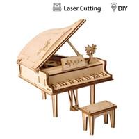 ingrosso mestieri adulti diy-Modello di puzzle 3D di pianoforte a coda Kit di modelli laser tagliati Artigianato d'arte fai-da-te Grande regalo giocattoli per ragazzi Ragazze e adulti