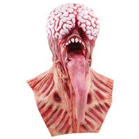 Wholesale silicone masquerade face masks resale online - New Creative Brain Long Tongued Halloween Monster Scary Mask Latex Devil Masks Masquerade Party Silicone Horror Zombie Terror